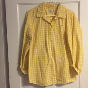 Vineyard Vines Yellow and White Gingham Blouse